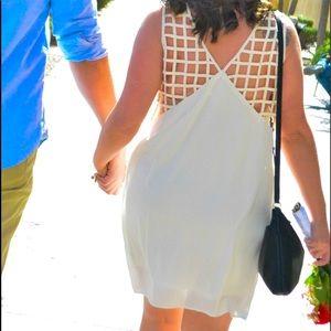 YA Los Angeles Cream Lattice Detail Shift Dress